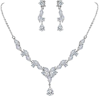 Clearine Women's Wedding Bridal CZ Marquise Shaped Leaf Butterfly Y-Necklace Dangle Earrings Set