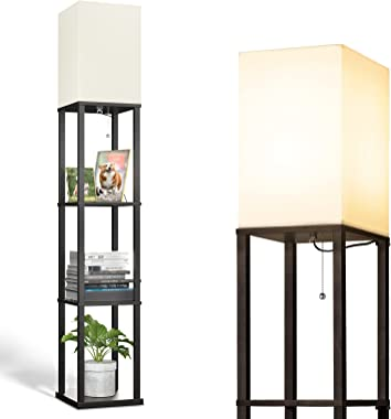 addlon LED Modern Shelf Floor Lamp with White Lamp Shade and LED Bulb - Display Shelves Floor Lamps for Living Room Bedroom a