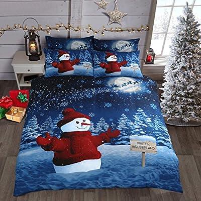 Winter Wonderland Snowman Sparkle Bedding Set Double