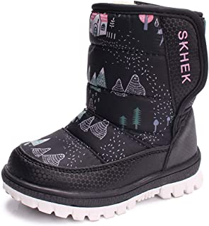 YUBUKE Boys Girls Toddler//Little Kids//Big Kids Frosty Winter Snow Boot Waterproof Boots