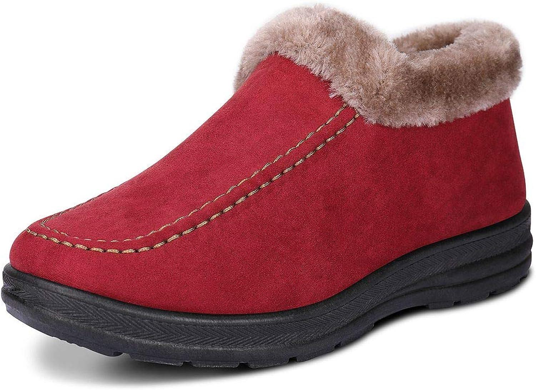 Labato Style Women's Winter Short Snow Boots Warm Slip-on Walking shoes Fur Lined Footwear