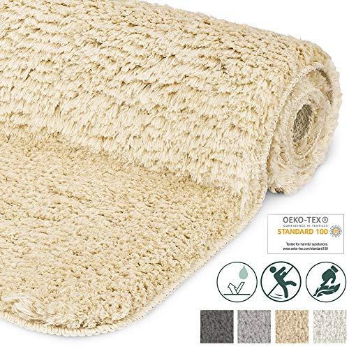 Beautissu Badematte rutschfest BeauMare FL Hochflor Teppich 60x50 cm Natur - WC Badteppich Flauschige Bodenmatte oder Badvorleger für Dusche, Badewanne und Toilette - für Fußbodenheizung geeignet