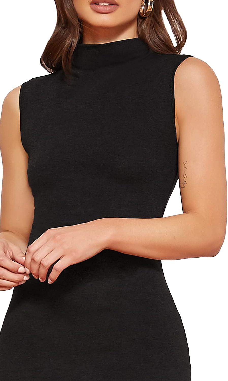 Romwe Women's Bodycon Tank Dress Mock Neck Sleeveless Split Hem Midi Dress