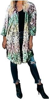 SEEGOU - Blusa para Mujer, con Lentejuelas metálicas en la Parte Delantera Abierta, Chaqueta de Punto, Abrigo, Abrigo, Abr...