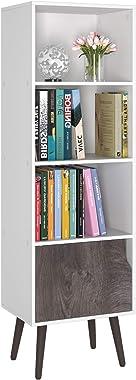 Homfa 4 Tier Floor Cabinet, Free Standing Display Bookshelf with 4 Legs and 1 Door, Side Corner Storage Cabinet Decor Furnitu