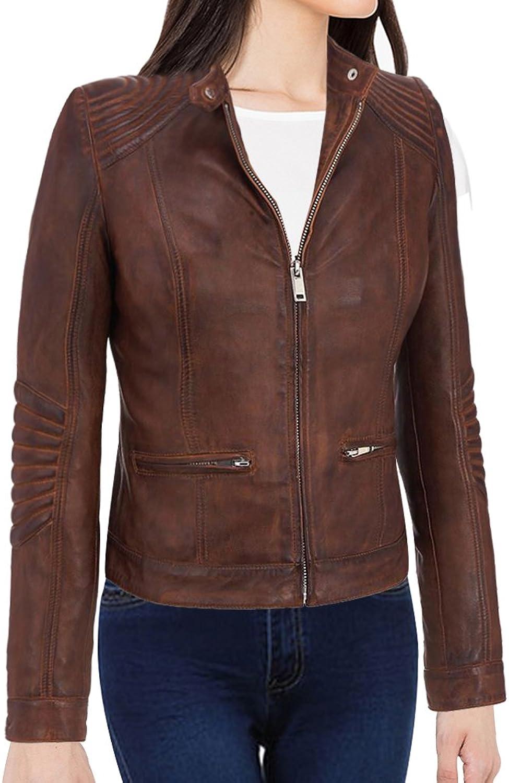 Women's New Cafe Racer Moto Biker Distressed Brown Vintage Leather Jacket