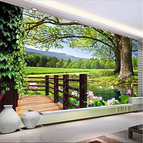 Pbbzl 3D-fotobehang, landschap, landschap, voor muren, hoge bomen, zwembad, lotus, wandfoto, fotobehang, woonkamer, wanddecoratie 280 x 200 cm.