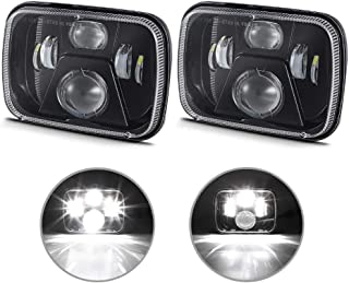4WDKING 5x7 Inch LED Headlights, New CREE LEDs 7x6 LED Sealed Beam Headlamp with Hi/Low Beam H6054 6054 Compatible for Jee...