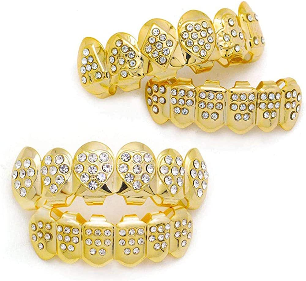 canjoyn 18K Gold Heart Diamond Grillz Top and Bottom Grillz One Set with Gold Poker Grills for Your Teeth for Men Women