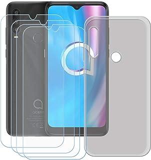 TTJ Grått skal för Alcatel 1SE 2020 [4 stycken] HD pansarglas, mobiltelefonfodral silikon skyddande fodral TPU fodral mobi...