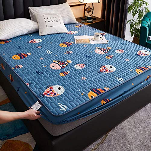 N / A King Fitted Bed Sheets,Quilted waterproof fitted sheets, thick dustproof mattress, bedspread cover-blue_120*200cm
