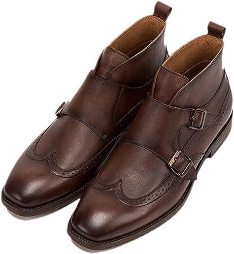 Hebilla Transpirable botas Altas De Cuero zapatos De Cuero Hechos A Mano para Hombre Martin botas Chelsea En Punta Inglaterra marrón Oscuro marrón Oscuro