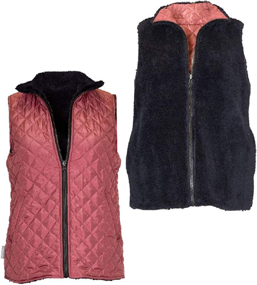 Simply Southern Reversible Vest Quilted or Fleece (Maroon, Small)
