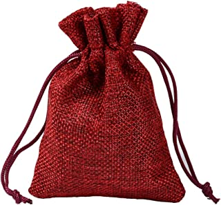 50 Pcs 15x20cm Resusable Drawstring Burlap Bags, Jewelry Pouches Sacks for Wedding Favor Party DIY Craft and Bags,Burgundy