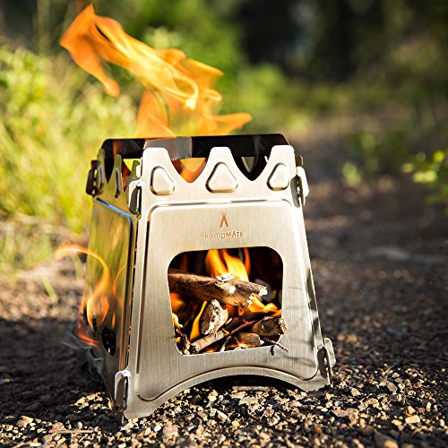 kampMATE WoodFlame Ultra Lightweight Portable Wood Burning Camping Stove, Backpacking Stove, Stainless Steel with Nylon Carry Case - Perfect for Survival Packs & Emergency Preparedness