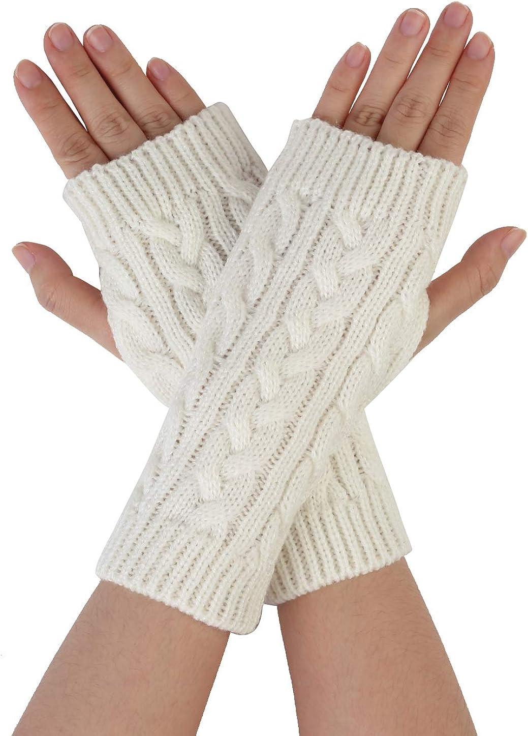 Allegra K Men Women Winter Wrist Warmer Stretchy Elastic Thumbhole Knitted Fingerless Gloves