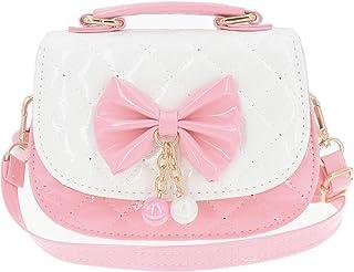 حقائب يد صغيرة للفتيات الصغيرات - حقائب يد الأميرة الصغيرة اللطيفة حقيبة الكتف (عقدة وردية وأبيض)