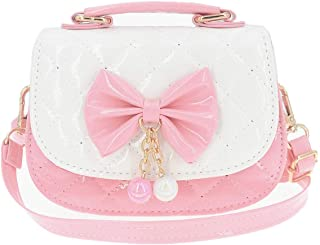 Little Girls Crossbody Purses for Kids - Toddler Mini Cute Princess Handbags Shoulder Bag (Bowknot Pink&White)