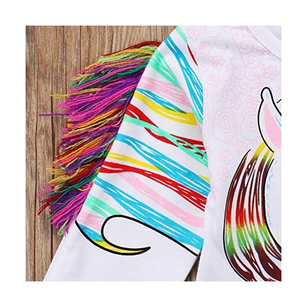 Toddler Kid Baby Girls Tassel Fringe Unicorn Tee Long Sleeve Tops T- Shirt 8