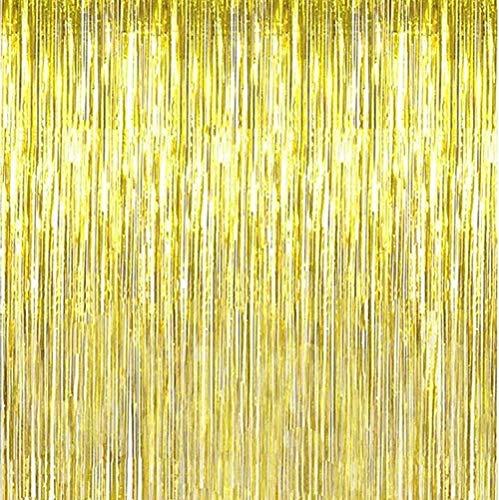 Layal Design Lametta Vorhang | Gold | 250 x 100 cm | Party Geburtstag Birthday (1 Stück)