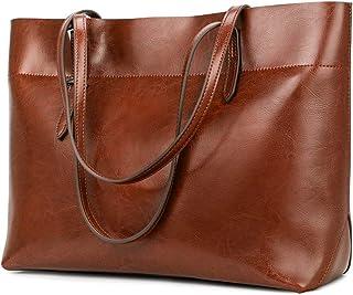 Vintage Genuine Leather Tote Shoulder Bag for Women...