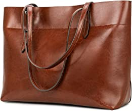 Kattee Vintage Genuine Leather Tote Shoulder Bag for Women Satchel Handbag with Top Handles