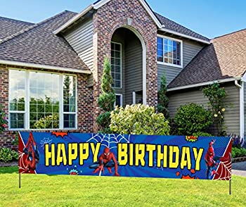 KindaJoy Spider Themed Man Happy Birthday Banner Red Blue Superhero Spider Man Themed Birthday Party Supplies Decor for Boys  9.8 X 1.6 Feet