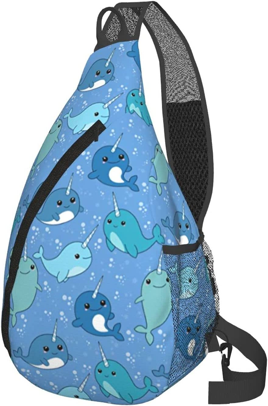 Cute Narwhal Sling Bag Crossbody Hiking Travel Sale price Discount is also underway Shoulder Dayp