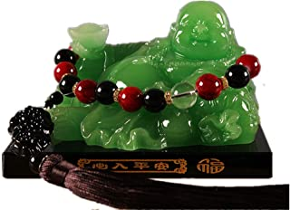 Prime Feng Shui Resin Laughing Buddha Hold Ingot Statue with Black Crystal Base and Pi Xiu Pendant Bead Ornaments Bless Safety and Wealth Car Home Office Decoration(Green,M)