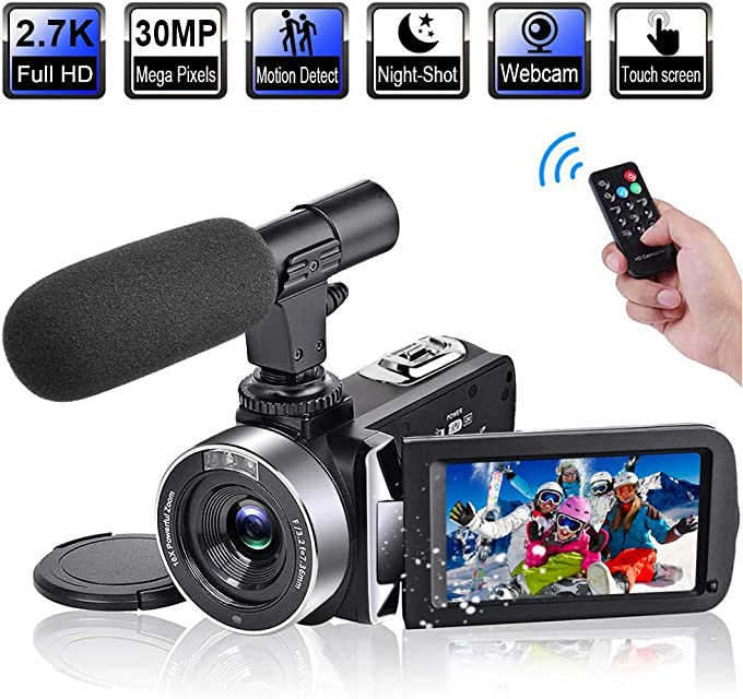 Videocámara Videocamara Full HD 2.7K 30FPS 30 MP Digital Videocamara Pantalla Táctil de 3.0 Pulgadas Videocámaras IR de Visión Nocturna con Micrófono Videocámaras Digital con Control Remoto