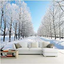 Gwrdnjpjc 3D Room Landscape Wallpaper Mural Natural Winter Scenery Snow Road White Tree On The Sides Wall Mural Wall Paper Bedroom@320X240Cm
