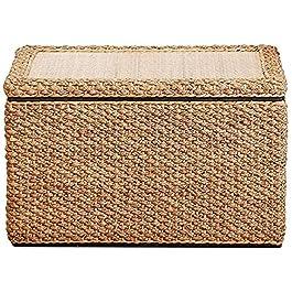KJHGK Pouf en Rotin Tabouret De Stockage Rectangulaire Tissé à La Main Cube De Repose-Pieds Tabouret BoîTe BoîTe De…