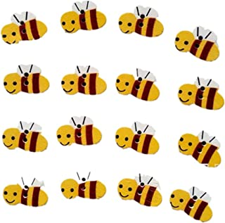 50pcs Wooden Buttons Sewing Button Kid's Scrapbooking DIY Craft Wedding Decoration Bees
