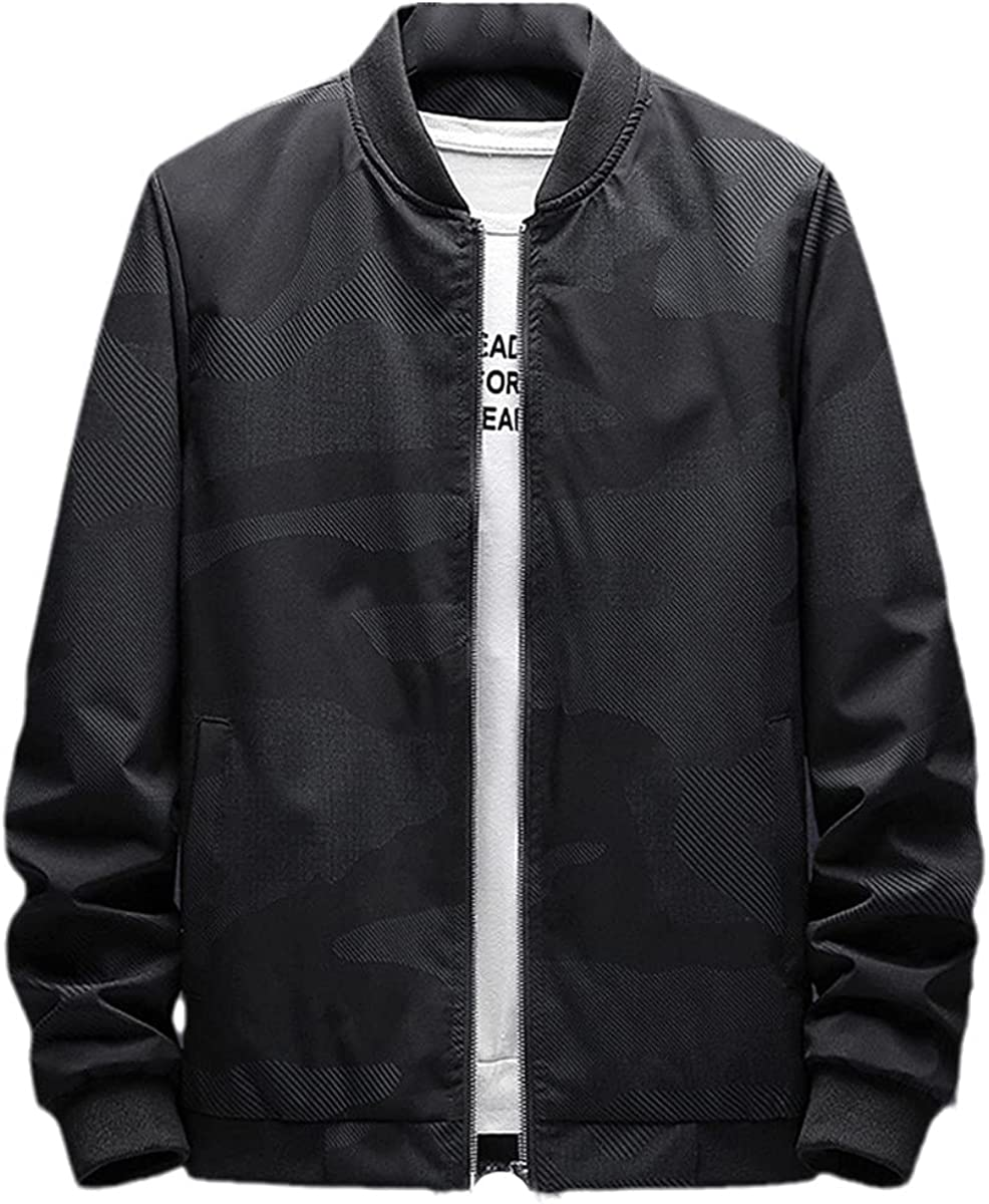 Men's Jacket Spring And Autumn Casual Baseball Bomber Jacket Men's Coat Plus Size Zipper Windbreaker