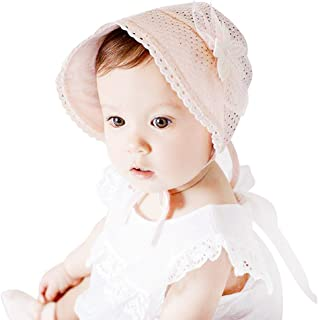 IMLECK Lace Fashion Pearl Hollowed Flower Baby Bonnet Handmade in White or Pink