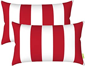 """LVTXIII Outdoor/Indoor Lumbar Pillow Case Covers, 12"""" x 20"""" Patio Garden Decorative Lumbar Pillow Covers Pack of 2 for Outdoor Home Patio Furniture Use - Cabana Red White"""