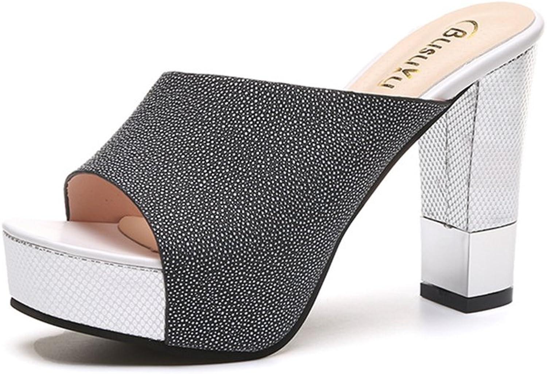Dolwins Womens High Heels Slide Sandal Summer Dress shoes Fashion Block Heel Wedge Platform Slippers