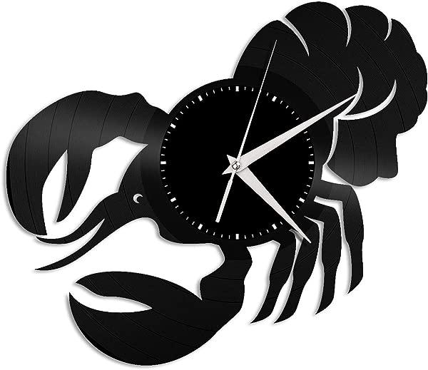 VinylShopUS Lobster Vinyl Wall Clock Unique Art Design Clock Gift For Animals Lovers Home And Kids Room Decoration