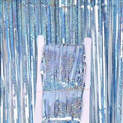 DIWULI, Glitzer-Vorhang Blau, Lametta-Vorhang glänzend, Foto-Hintergrund, Tinsel Schimmer metallic Fransen-Vorhang Folie, Kinder-Geburtstag, Mädchen Junge, Hochzeit, Motto-Party, Dekoration, Deko