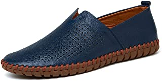 Sumuzhe Stylish and comfortable Men's Drive Loafers Casual Light Soft Leather Hollow Breathable A Foot Pedal Boat Moccasins Summer must (Color : Hollow Blue, Size : 48 EU)