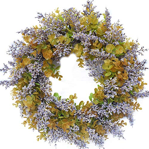 ChezMax Fall Wreath for Front Door Artificial Eucalyptus and Purple Lavender Wreaths 18 inch Farmhouse Outside Decorating