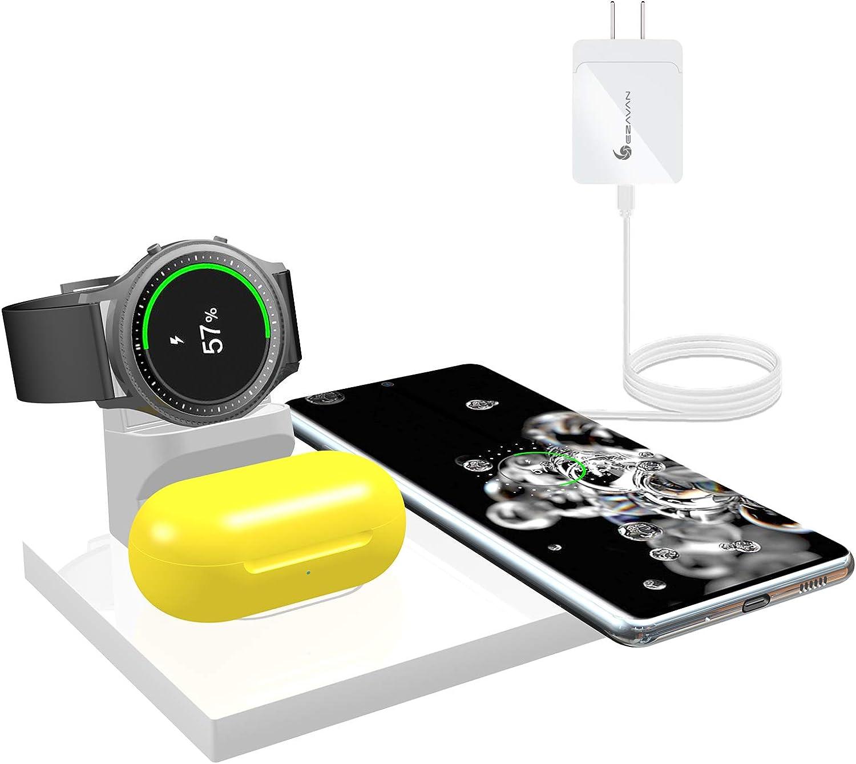 Ezavan 15W Wireless Charger for Samsung, 3-in-1 Fast Wireless Ch