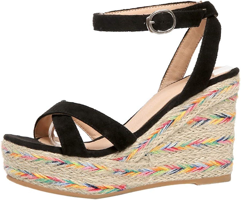 Wedge Sandals Summer High Heels Women's Platform Sandals Pink High Heels Open Toe Women's shoes 10cm High (color   Black, Size   35 US5.5)