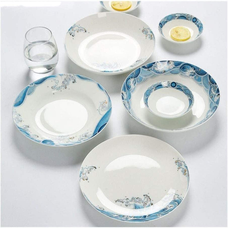 JXXXJS Chinese Ceramic Plate Home Cutlery And Blue 35% OFF Por Seasonal Wrap Introduction White Set