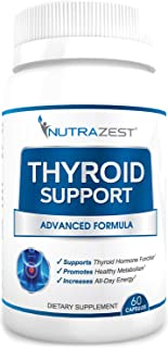 Nutrazest Thyroid Support Supplement - Boost Metabolism, Support Weight Loss, Increase Energy & Focus - with Iodine (Kelp), Zinc, L-Tyrosine, Ashwagandha, Vitamin B12-60 Capsules