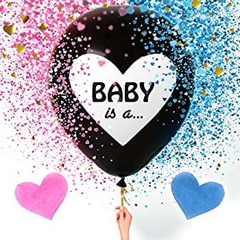Sweet Baby Co Jumbo 36 Inch Baby Gender Reveal Balloon | Big Black Balloons with Pink and Blue Heart Shape Confetti Packs for Boy or Girl | Baby Shower Gender Reveal Party Supplies Decoration Kit