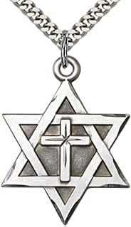 Heartland Mens Sterling Silver Star of David with Cross + USA Made + Choose Chain
