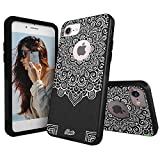 Unnito iPhone 7 Case – Hybrid Commuter Case | Slim Cover with Hard Shell Design and Soft Inner Layer Compatible with iPhone 8 Black Case - Mandala Dream