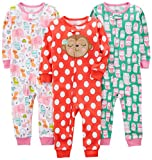 Simple Joys by Carter's Baby Girls' Toddler 3-Pack Snug Fit Footless Cotton Pajamas, Owl/Monkey/Animals, 3T