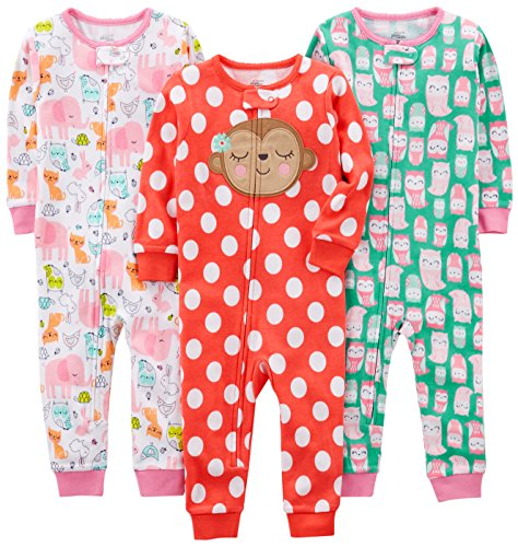 Simple Joys by Carter's Baby Girls' 3-Pack Snug Fit Footless Cotton Pajamas, Owl/Monkey/Animals, 24 Months
